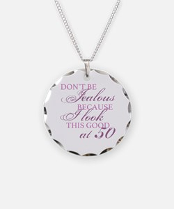Look Good 50th Birthday  Necklace Circle Charm