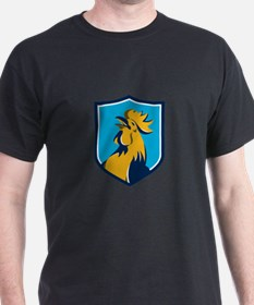 Chicken Rooster Crowing Crest Retro T-Shirt
