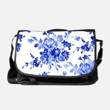 Vintage blue and white floral patter Messenger Bag
