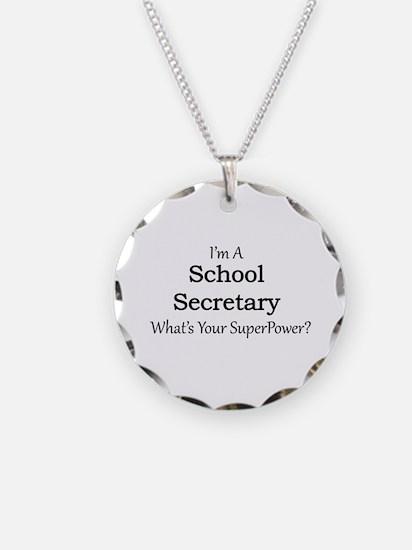 School Secretary Necklace Circle Charm