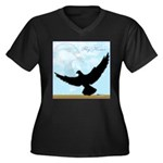 Pigeon Fly Home Women's Plus Size V-Neck Dark T-Sh
