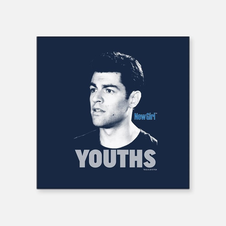 "New Girl Youths Square Sticker 3"" x 3"""
