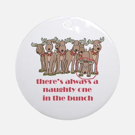 Naughty Reindeer Ornament (Round)