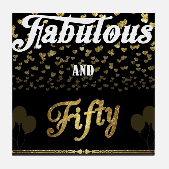 Black BG Fabulous and Fifty Tile Coaster