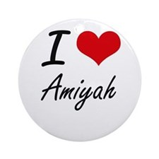 I Love Amiyah artistic design Round Ornament