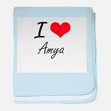 I Love Amya artistic design baby blanket