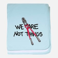 We Are Not Things (red) baby blanket