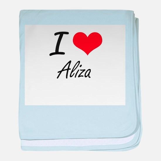 I Love Aliza artistic design baby blanket
