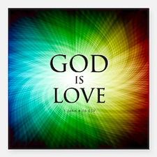 "Love Is God Square Car Magnet 3"" x 3"""