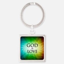 Love Is God Square Keychain