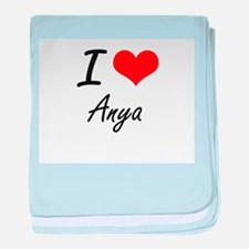 I Love Anya artistic design baby blanket