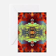 exotic hipster orange batik Greeting Cards