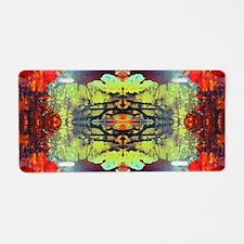 exotic hipster orange batik Aluminum License Plate