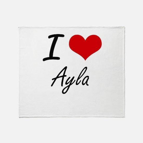 I Love Ayla artistic design Throw Blanket