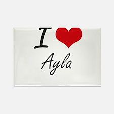 I Love Ayla artistic design Magnets