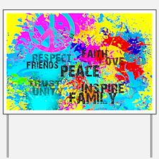 Splash Words of Good Yellow Peace Yard Sign