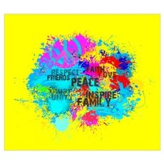 Splash Words of Good Yellow Peace Poster