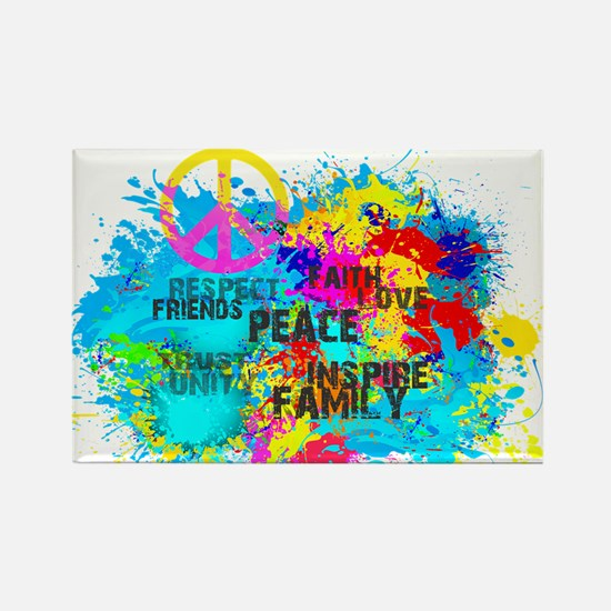 Splash Words of Good Peace Rectangle Magnet