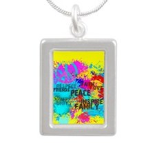 Splash Words of Good Yellow Peace Necklaces