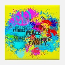 Splash Words of Good Yellow Peace Tile Coaster