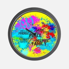 Splash Words of Good Yellow Peace Wall Clock