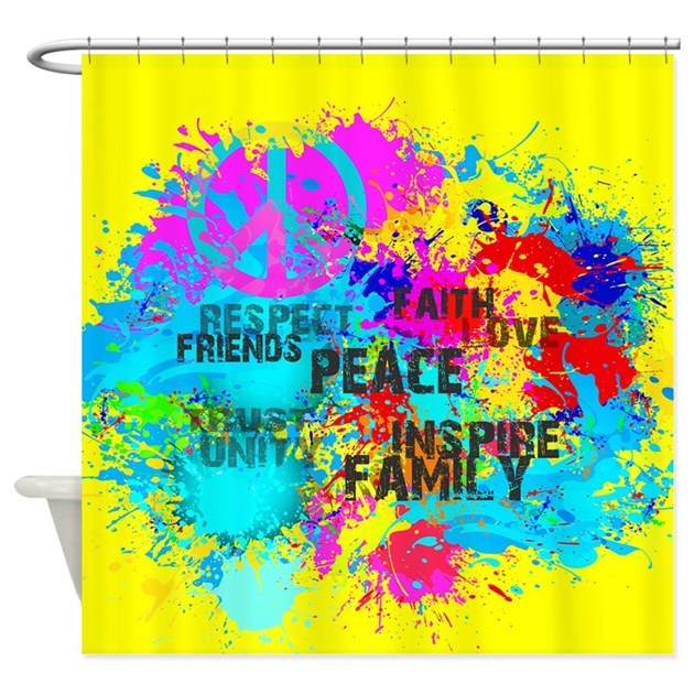 Splash Words Of Good Yellow Peace Shower Curtain By Admin Cp129519821