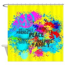 Splash Words of Good Yellow Peace Shower Curtain