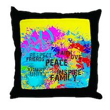 Splash Words of Good Yellow Peace Throw Pillow