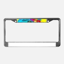 Splash Words of Good Yellow Pe License Plate Frame