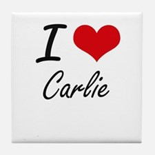 I Love Carlie artistic design Tile Coaster