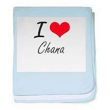 I Love Chana artistic design baby blanket