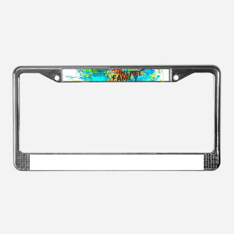 Splash Words of Good Peace License Plate Frame