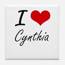 I Love Cynthia artistic design Tile Coaster
