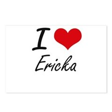 I Love Ericka artistic de Postcards (Package of 8)