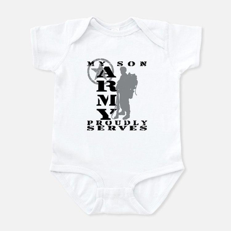 Son Proudly Serves 2 - ARMY Infant Bodysuit