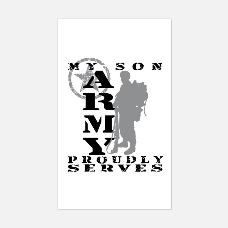 Son Proudly Serves 2 - ARMY Rectangle Decal