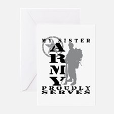 Sister Proudly Serves 2 - ARMY  Greeting Cards (Pk