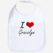 I Love Gracelyn artistic design Bib