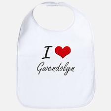 I Love Gwendolyn artistic design Bib