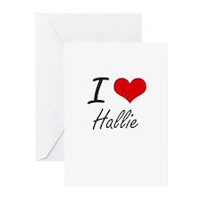 I Love Hallie artistic design Greeting Cards