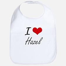 I Love Hazel artistic design Bib