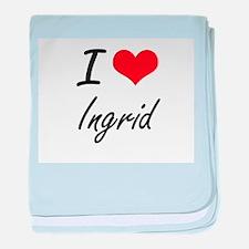I Love Ingrid artistic design baby blanket