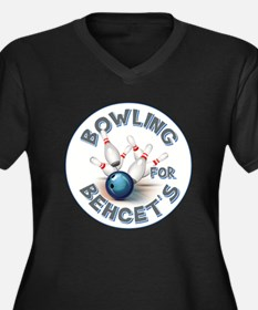 BOWLING FOR Women's Plus Size V-Neck Dark T-Shirt