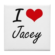 I Love Jacey artistic design Tile Coaster