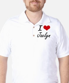 I Love Jaelyn artistic design Golf Shirt