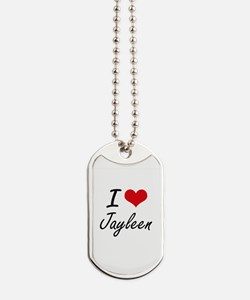 I Love Jayleen artistic design Dog Tags