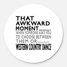 Western Country Dance Awkward Des Round Car Magnet