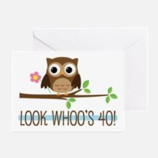 40th Birthday Owl Greeting Cards