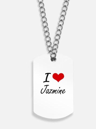 I Love Jazmine artistic design Dog Tags
