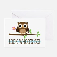 55th Birthday Owl Greeting Card
